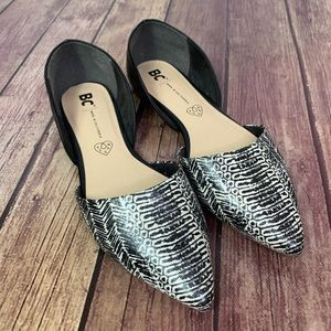 BC Vegan Snake Skin Pointed Toe Flats